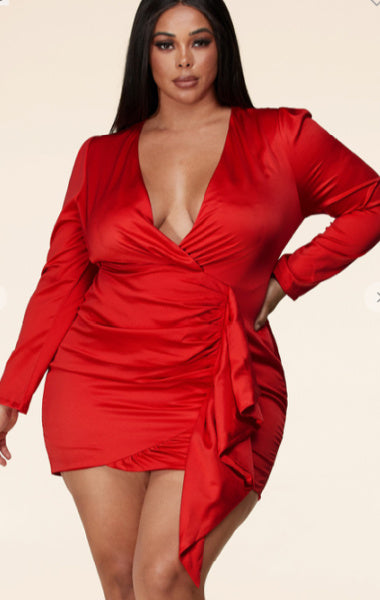 Pre-order Jessica Mock Wrap Dress Plus Size