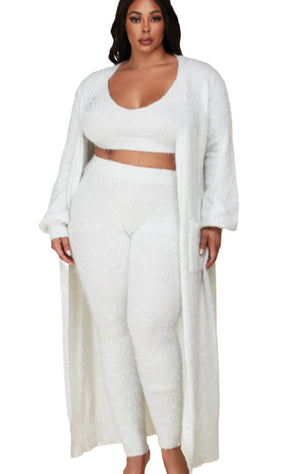 Pre-order Kylie 3 piece lounge set-Cream Plus Size
