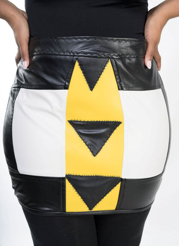 Lunar Tribe Patchwork Leather Skirt