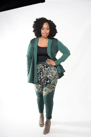 Green Quilted Patch Leggings