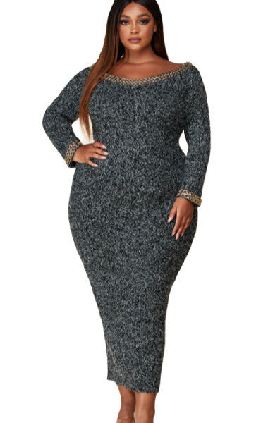 Pre-order RONA off the shoulder Sweater Dress PLUS SIZE