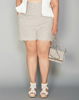 CARMEN Grey Eyelet Shorts