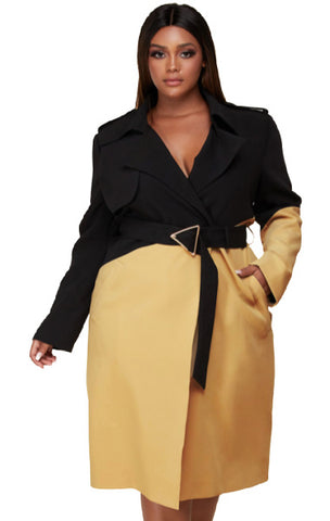 Pre-order ZARA Black and Tan Trench PLUS
