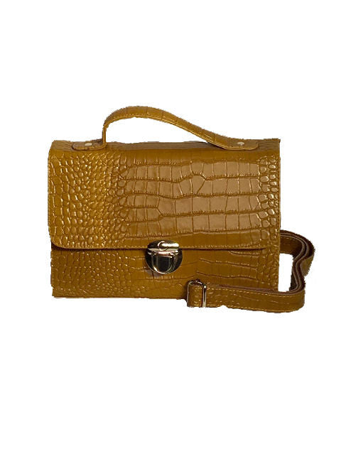 Iconic Collection Croc Skin Leather Satchel