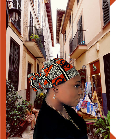 ORN/BLK Tribal Head Wrap