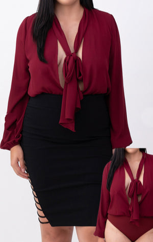 Pre-order CARRIE Tie Neck Body Suit PLUS SIZE- WINE