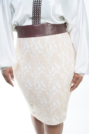 Imperial Lace Pencil Skirt