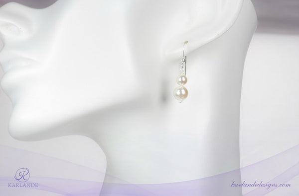 Bridal Double Pearl Earrings