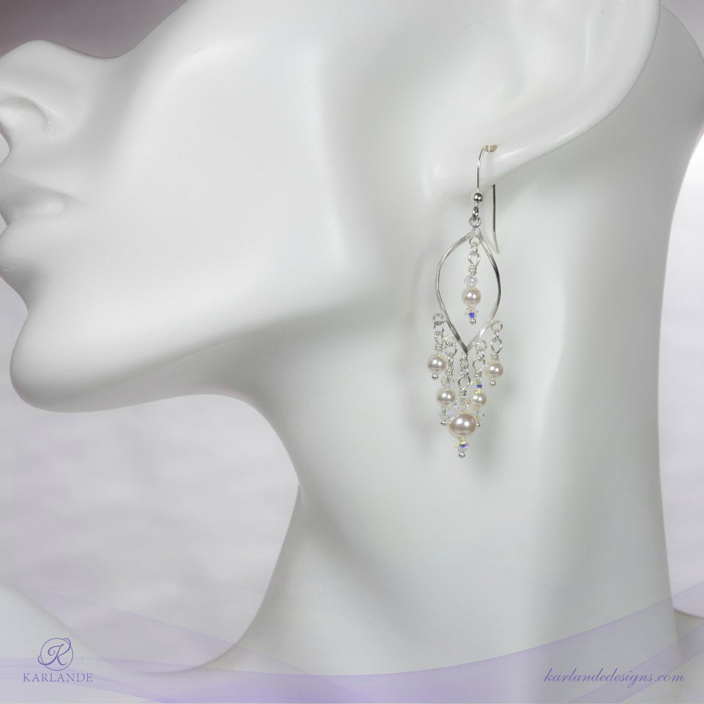 Bridal Open Twisted Marquise Earrings