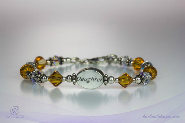 Daughter's Pride Message Bead Bracelet