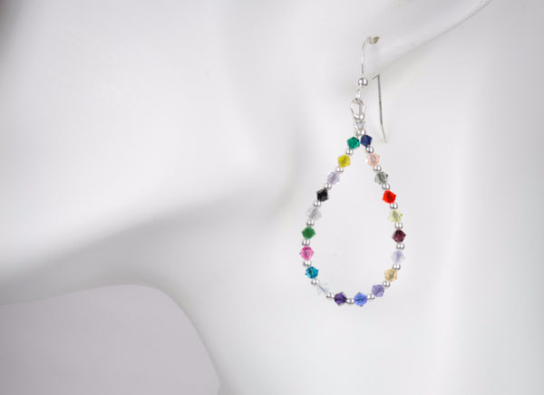 Hope Crystals Cancer Awareness Earrings - Loop Style