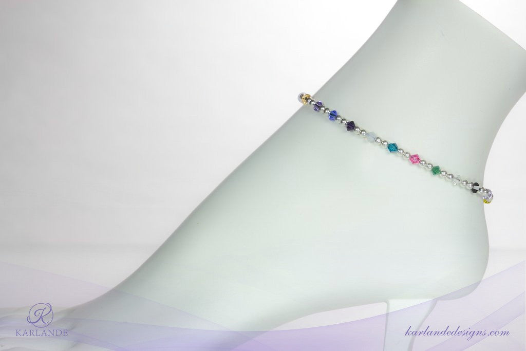 Hope Crystals Cancer Awareness Anklet - 20 Colours