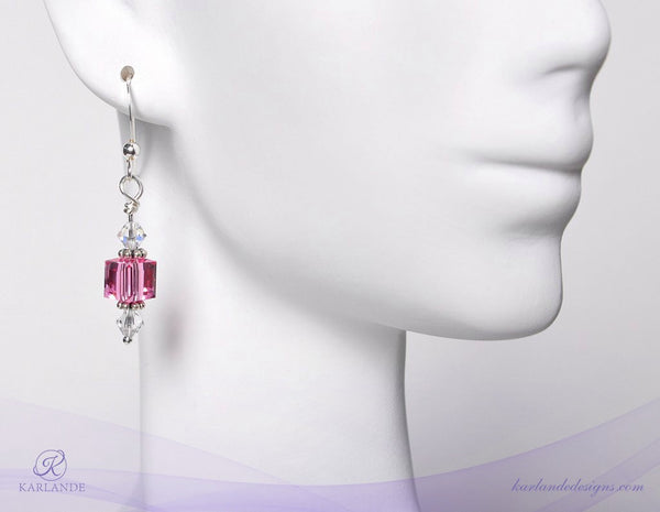 Hope Crystals Cancer Awareness Custom Earrings