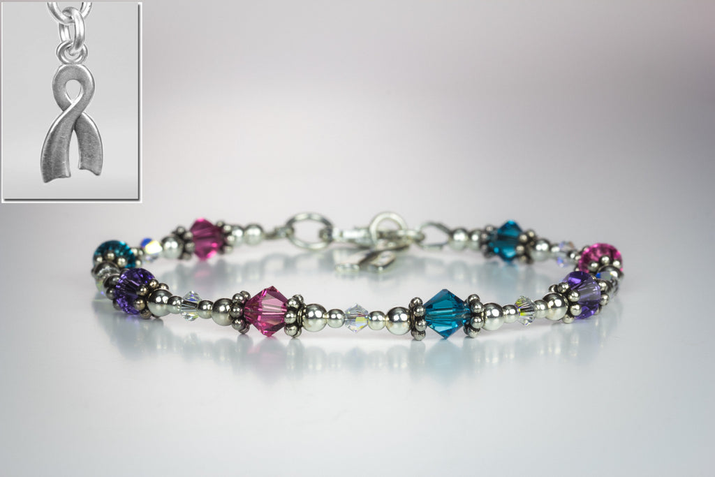 Hope Crystals Cancer Awareness Bracelet - Custom Colours