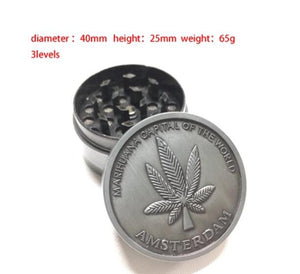 Zinc Dia 40MM 4 Parts Tobacco Crusher Herb/Spice Grinder Weed Shisha Grinder Chicha Cigarettes Accessories Hand Muller