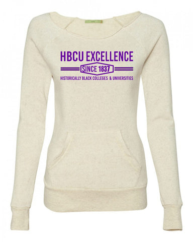 HBCU Excellence Sweatshirt- Cream with Purple