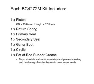 Brakecrafters Brake Master Cylinders Rebuild Kit 1983 Honda GL1100 Goldwing - Rear Brake Master Cylinder Rebuild Kit