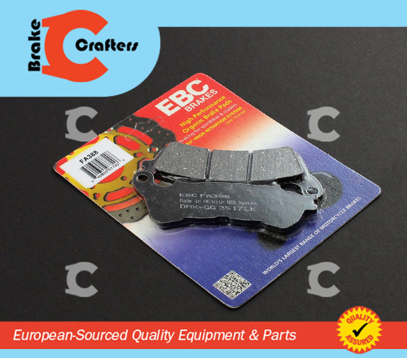 Brakecrafters Brake Pads 2011 - 2014 HONDA CBR 250 RA ABS MODEL - FRONT EBC PERFORMANCE ORGANIC BRAKE PADS