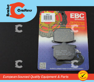 Brakecrafters Brake Pads 1977 - 1978 HONDA CB750F SUPERSPORT - REAR EBC PERFORMANCE ORGANIC BRAKE PADS
