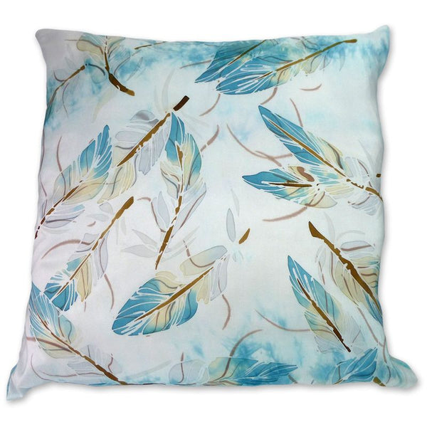 Floating Turquoise Feathers cushion