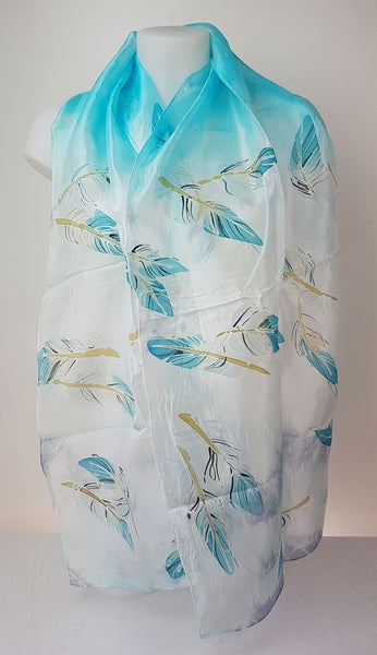 Simply Feathers – turquoise blue silk scarf with painted feathers