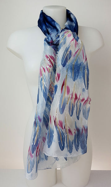 Blue Heron – dark blue silk scarf with painted blue and pink wings