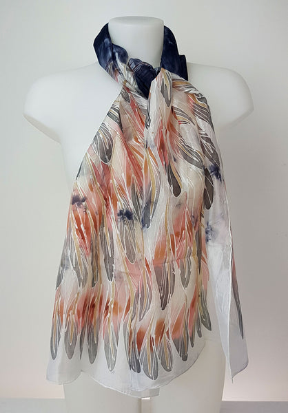 Grey Heron – grey silk scarf with painted pink and grey  wings