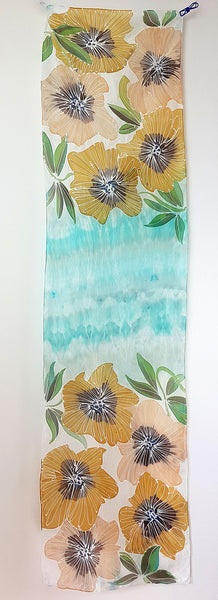 Painted Garden in Provence – turquoise blue silk scarf with painted pink and yellow large flowers