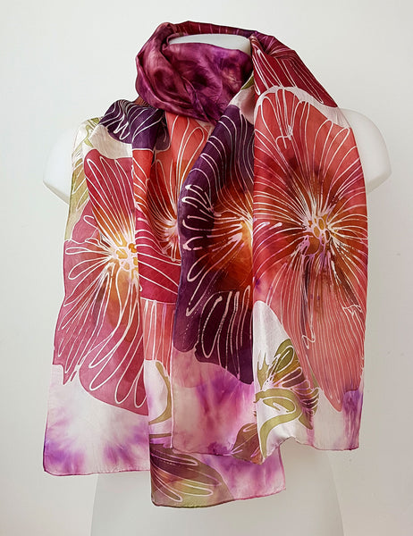 Burgundy Flower Garden  – burgundy purple English flowers handpainted silk scarf