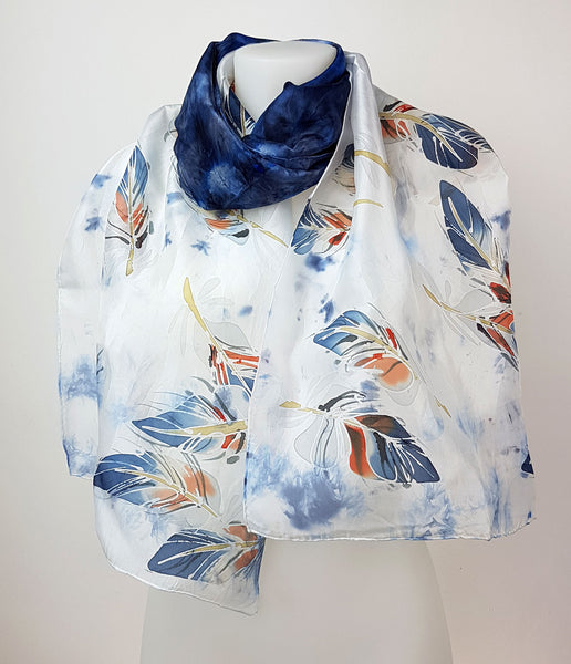 Navy Blue Feathers – dakr blue silk scarf with handpainted blue feathers