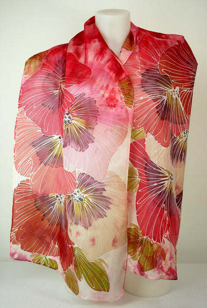 Poppy Field – hand-dyed and hand-painted silk scarf in poppy red featuring large flowers