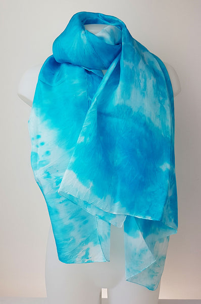 Sky - large silk scarf in heavenly blue colour