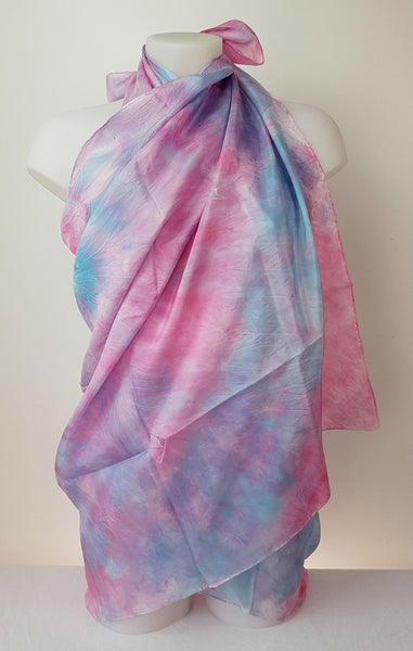 Candy – large silk scarf in cool sweet shades of light pink and caribean turquoise blue