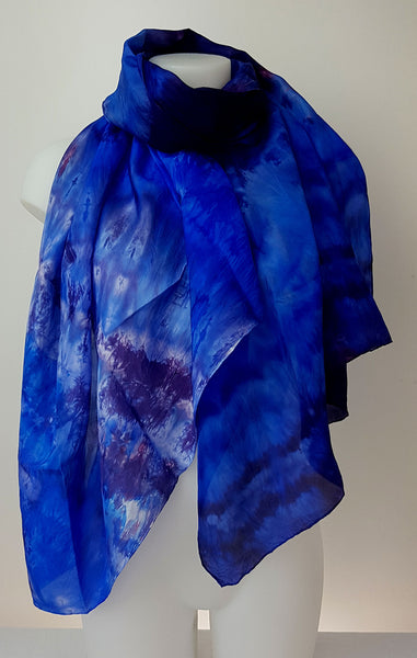 Into the Blue - large silk scarf in beautiful shades of ultramarine blue and burgundy red