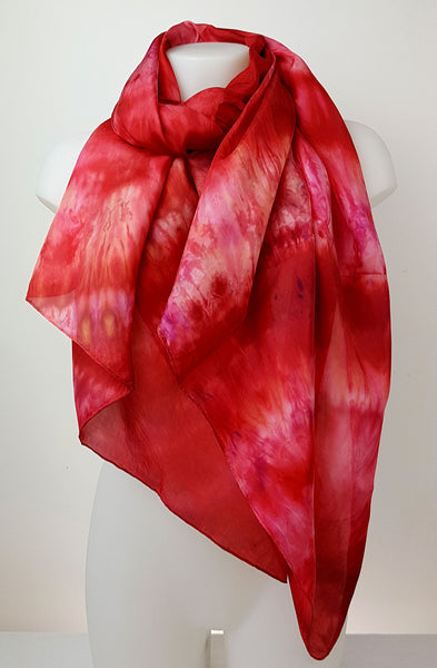 Chilli Pepper – large handmade silk scarf in rich shades of the spicy red colour