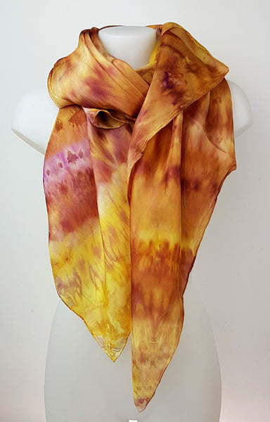 Yummy Honey – large silk scarf in warm and sweet colour of honey