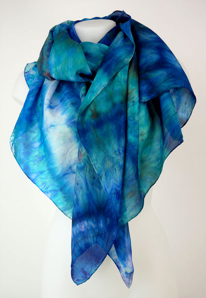 Ocean Escape - large silk scarf in beautiful shades of turquoise, navy blue and orange