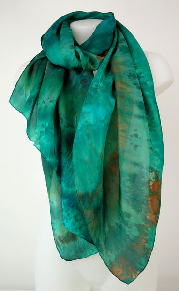 Emerald Maze - large silk scarf in vibrant shades of malachite and emerald green hints of orange brown