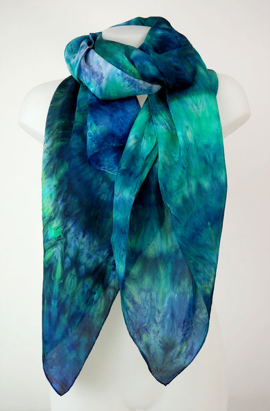 Amazon River - large hand-dyed shibori silk scarf in rich green and blue shades of Amazon River