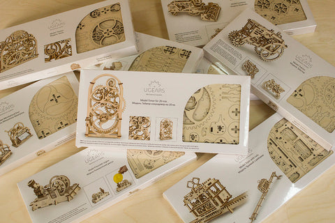 Ugears mechanical construction kits in boxes