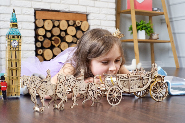 Royal Wedding Carriage by UGears - intricate wooden model with a hidden motor - UGears