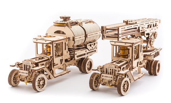 Tanker, Ladder and Trailer additions for Truck - build your own working models by UGears - UGears - 2