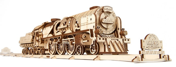 V-Express Steam Train with Tender - build your own moving engine by UGears - UGears