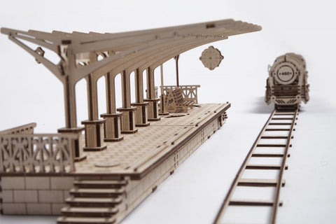 Railway Platform - build your own working model by UGears - UGears - 1