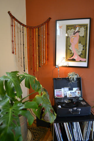 Home Tour Portland jewelry designer, Atiana Kuriyama. Record player, record collection,