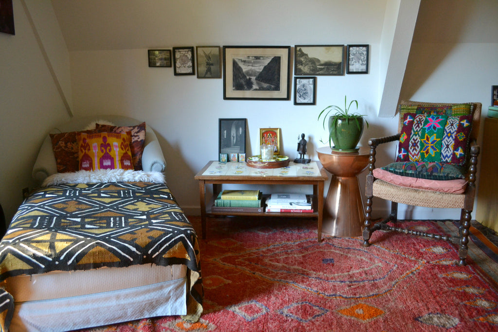 Reading nook, Turkish rug, layered textiles, boho home