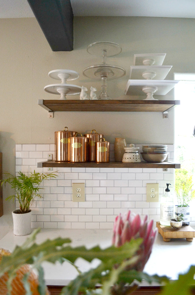 Artifact Home Tour with Sarah Voss of Trouvaille Lifestyle Shop. Subway tile, modern kitchen