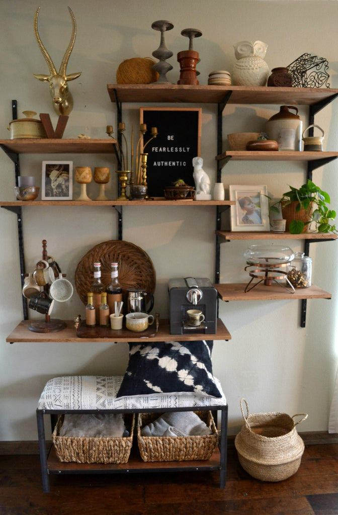 Artifact Home Tour with Sarah Voss of Trouvaille Lifestyle Shop. Shelfie, gallery wall