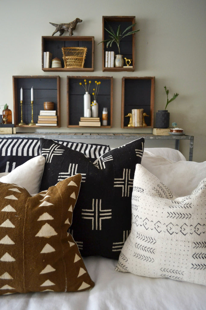 Home Tour with Sarah Voss of Trouvaille Lifestyle Shop. African mudcloth, rustic shelves