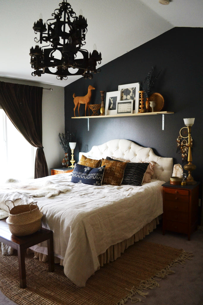 Artifact Home Tour with Sarah Voss of Trouvaille Lifestyle Shop. Dark walls, african mudcloth
